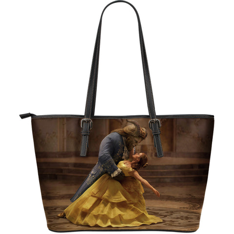 Beauty and The Beast Large Leather Tote Bag