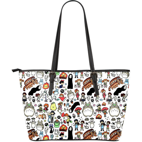 Ghibli Characters Large Leather Tote Bag