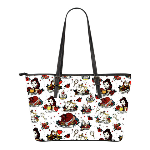 Beauty and The Beast Character's Small Leather Tote Bag