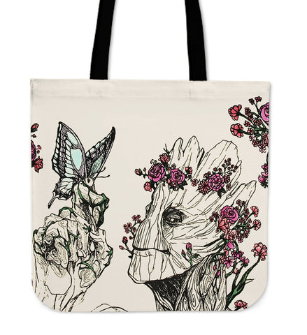 A Lovely Groot Floral Crossbody Tote Bag