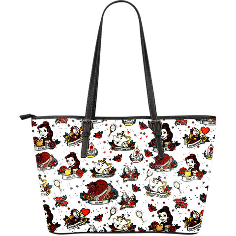 Beauty and The Beast Character's Large Leather Tote Bag