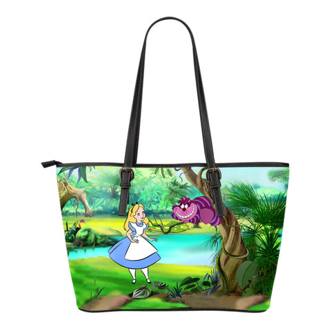 Alice & Cheshire Cat - Small Leather Tote
