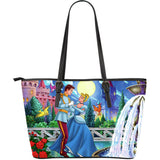 Cinderella & Prince Large Leather Tote Bag