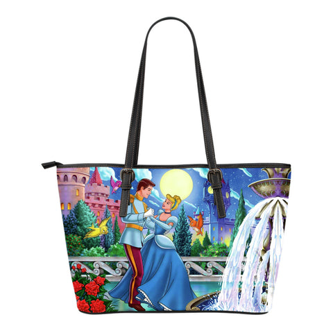 Cinderella & Prince Small Leather Tote Bag