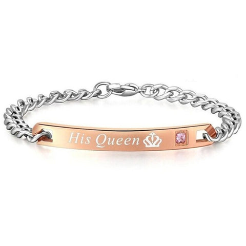 "BRACELETS 2 PIECES FOR MEN AND FOR WOMEN ""HER KING HIS QUEEN"""