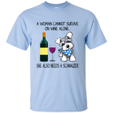 17 A WOMAN SURVIVES ON WINE AND SCHNAUZER LOVE SHIRT