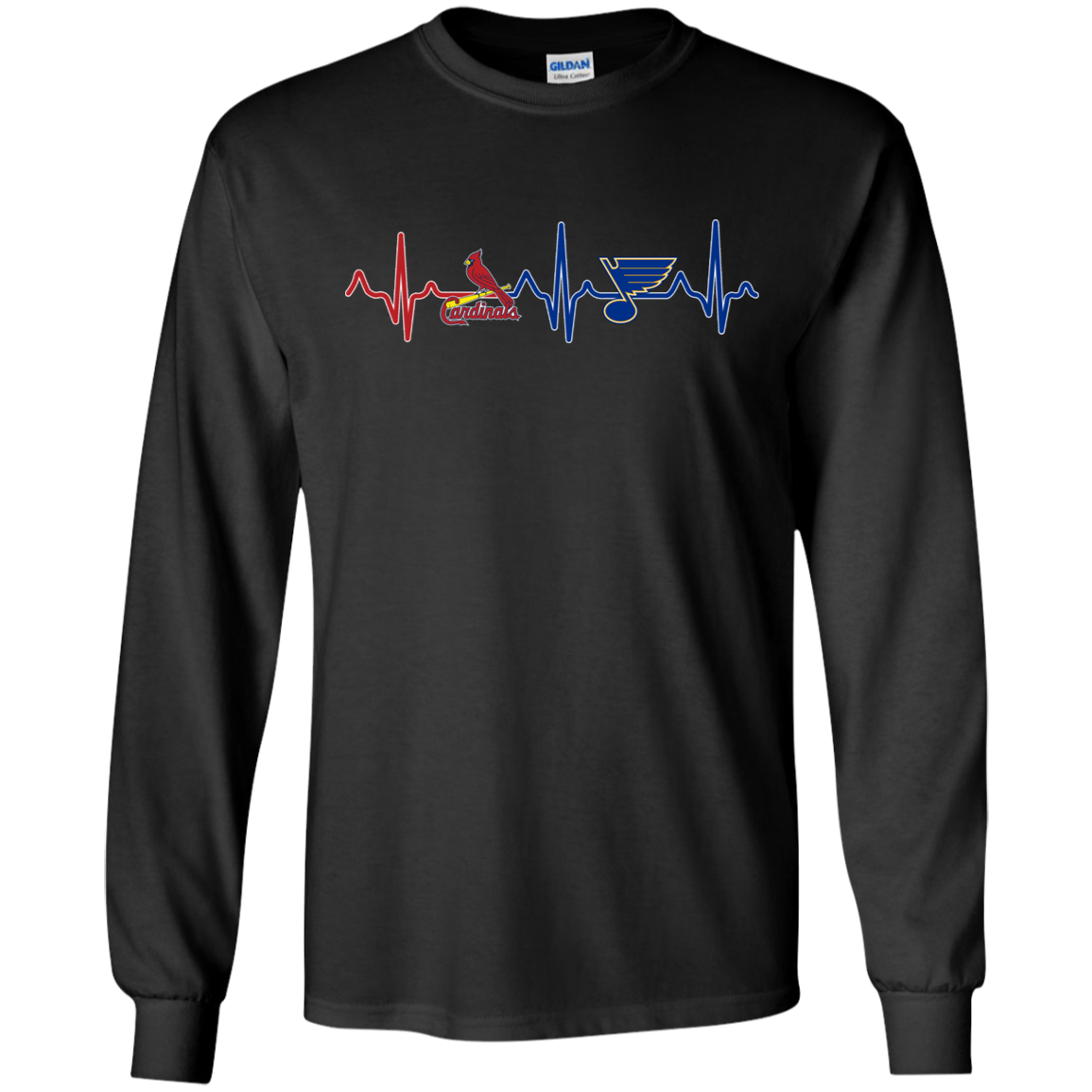 Copy image url St Louis Cardinals St Louis Blues heartbeat shirt