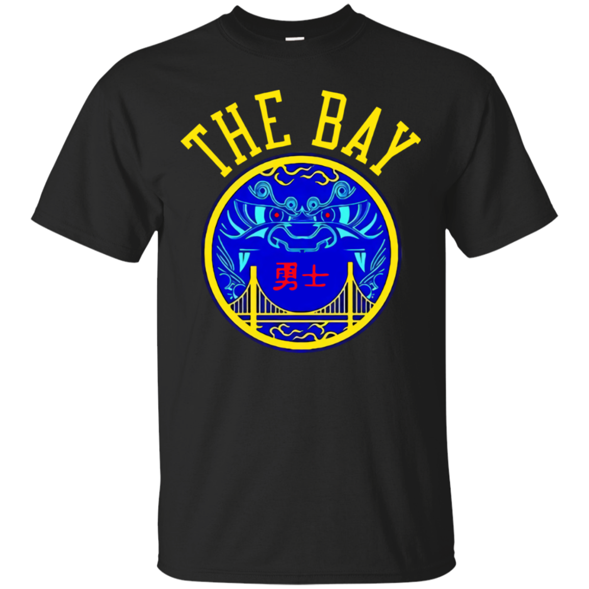 Golden_State_Warriors_The_Bay Golden State Warriors The Bay Chinese Heritage T Shirt Black Cotton Men M-3XL