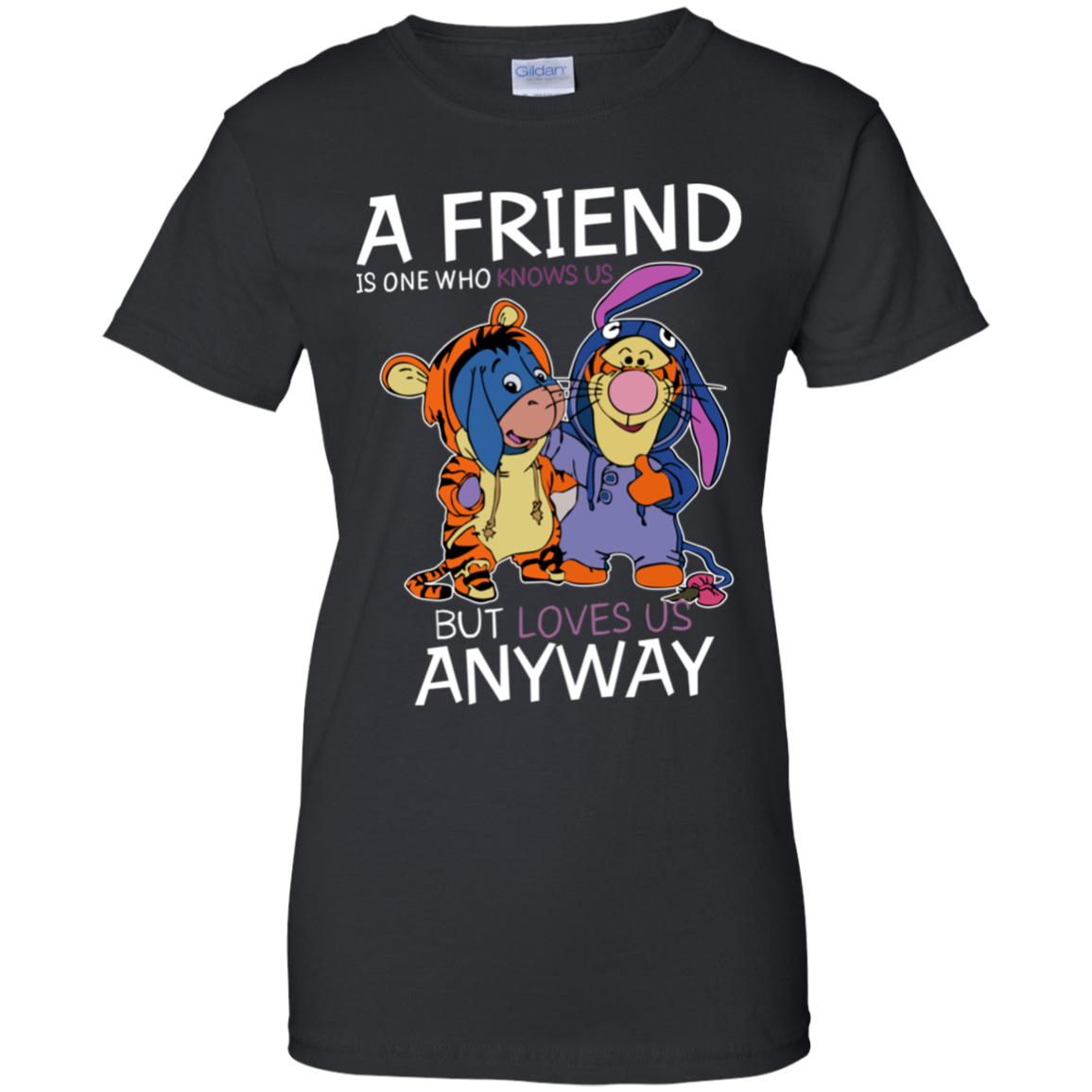 a_friend_aw Eeyore And Tigger Friend Gift T Shirt Black Cotton Ladies
