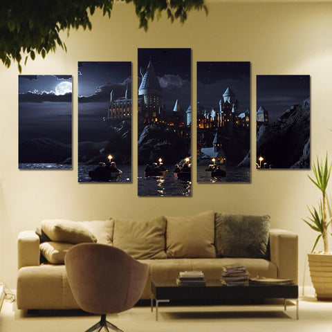 5 Panels HD Printed Harry Potter Hogwarts Castle Art Painting