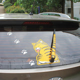 Cartoon Funny Cat Wagging Tail Decal Reflective Car Window