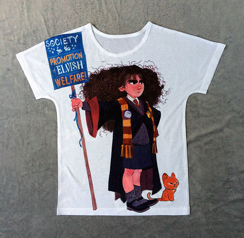 Hermione with Yellow Cat T-shirt