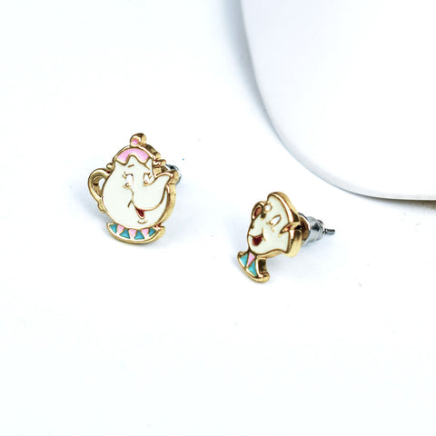 Beauty And Beast Mrs Potts And Chip Cup Earrings