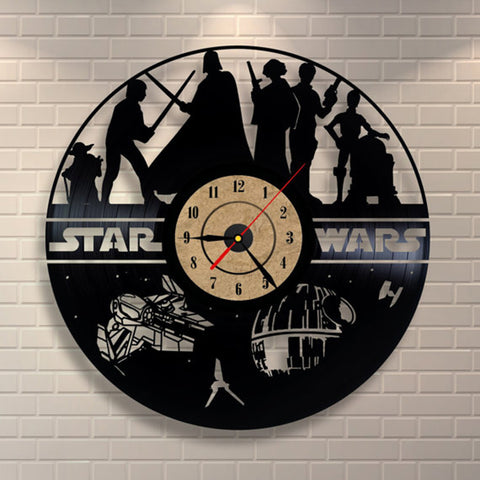 Star Wars Black Vinyl Record Wall Clock