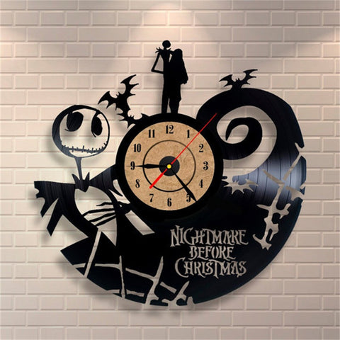 Nightmare Before Christmas Vinyl Record Design Wall Clock