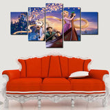 5 Panels Canvas Tangled Rapunzel & Flynn Art Painting