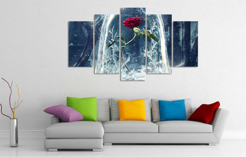 5 Panels Beauty and The Beast Rose Art Painting