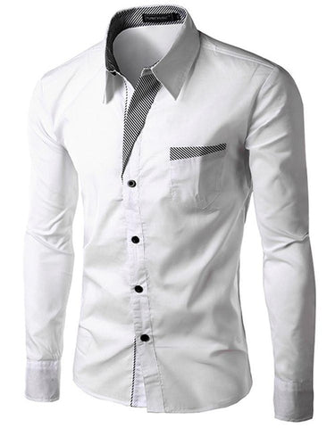 2017 New Fashion Brand Camisa Masculina Long Sleeve Shirt Men Korean Slim Design Formal Casual Male Dress Shirt Size M-4XL 8012