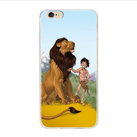 Lion and little Tarzan by Hard Plastic Phone Case For Samsung& iPhone