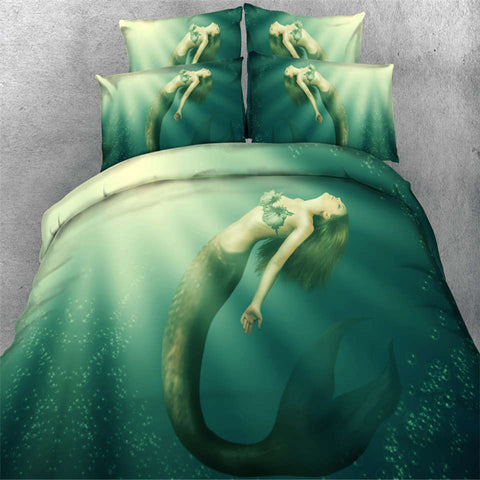 Mermaid bedding bed sets 3D print green