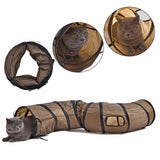 Brown Tunnel Foldable Cat Toys