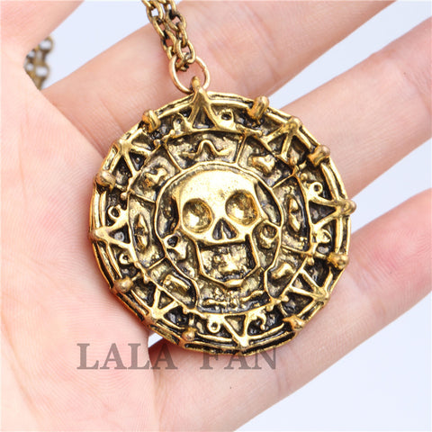 Pirates Of the Caribbean Captain Jack Skull Pendant Necklace