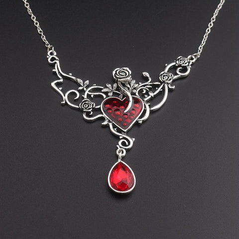 Beauty and the Beast Red Enamel and Crystal Rose Flower Necklace
