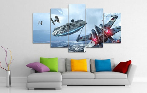 5 Pannels Canvas Millennium Falcon X-Wing Art Painting