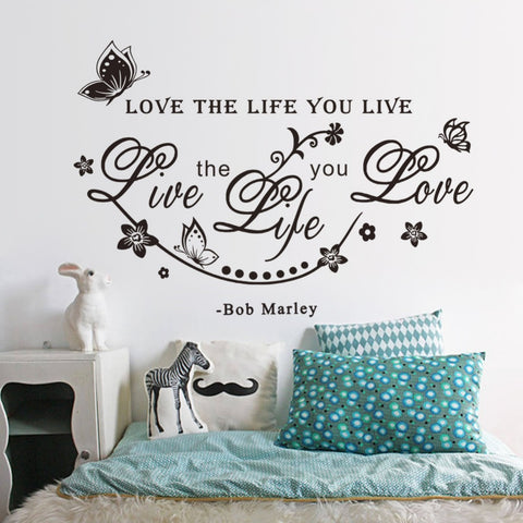 "Bob Marley Room Wall Sticker ""Love The Life You Live"""