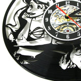 3D Black Hollow Little Mermaid Vinly Record Clock