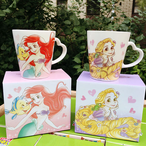 Cute Cartoon Ariel Princess The Little Mermaid Rapunzel Ceramic Coffee Milk Mug Children Birthday Gift Collection