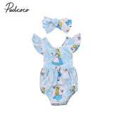 Cute Baby Girls Clothes Newborn Baby Girls Romper Jumpsuit Infant Girls Short Ruffle Sleeve Cartoon Pattern Clothes Blue Outfits