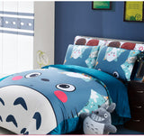 blue Totoro reactive print bedding sets twin queen king size duvet/quilt/comforter covers pillow shams for children home decor