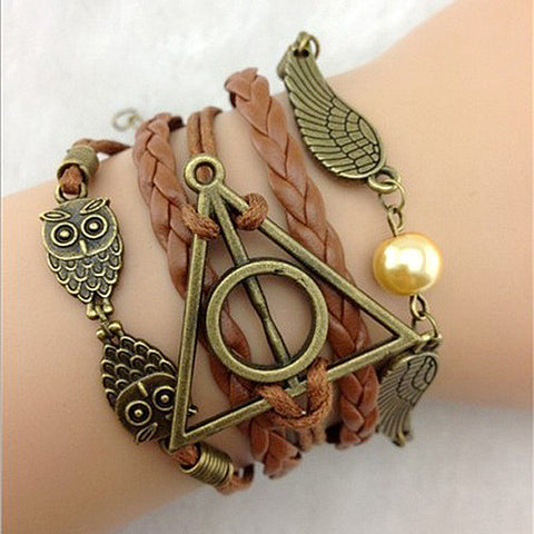 Harry Potter and The Deathly Hallows Wings  Leather Rope Bracelet