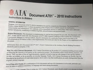AIA 701 Instructions to Bidders, 2018