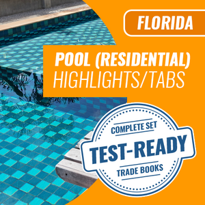 Florida Residential Pool Contractor Exam Complete Book Set - Trade Books - Highlighted & Tabbed
