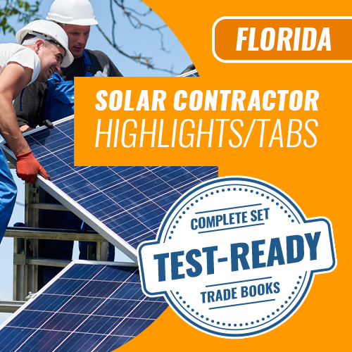 Florida Solar Contractor Exam Complete Book Set - Trade Books - Highlighted & Tabbed