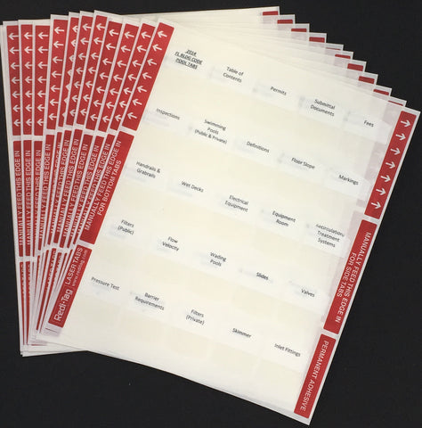 Pre-printed Tabs for Florida State Residential Pool Contractors Trade Book Package; Tabs Only