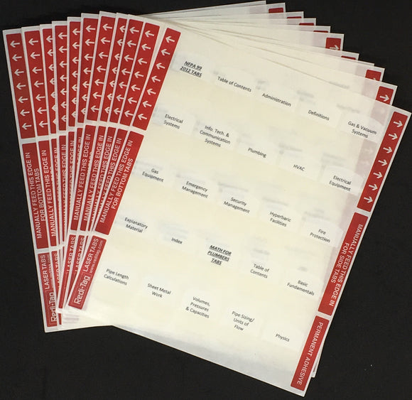 Pre-Printed Tabs for Florida State Plumbing Book Package; Tabs Only