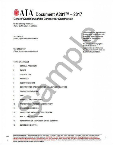AIA A201 General Conditions of the Contract for Construction, 2017