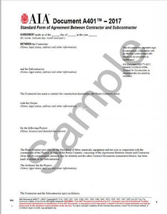 Aia A401 Standard Form Of Agreement Between Contractor Subcontractor 2017