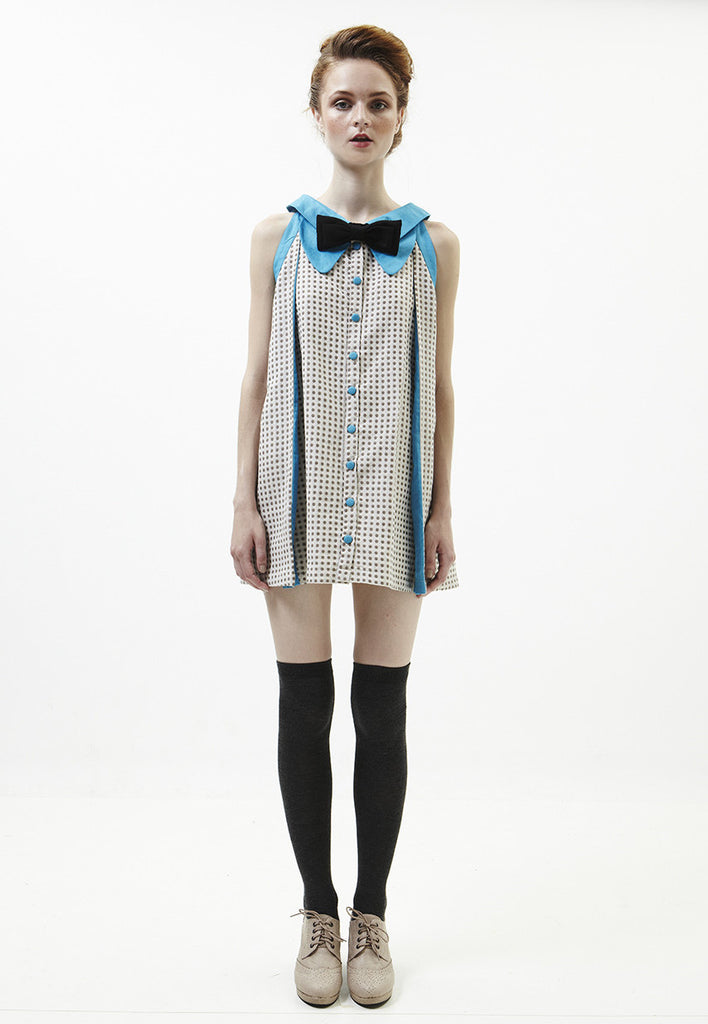 Terry Dress In Blue With Beige Polka Dots