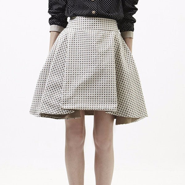 Reversible Drew Skirt In Beige Polka