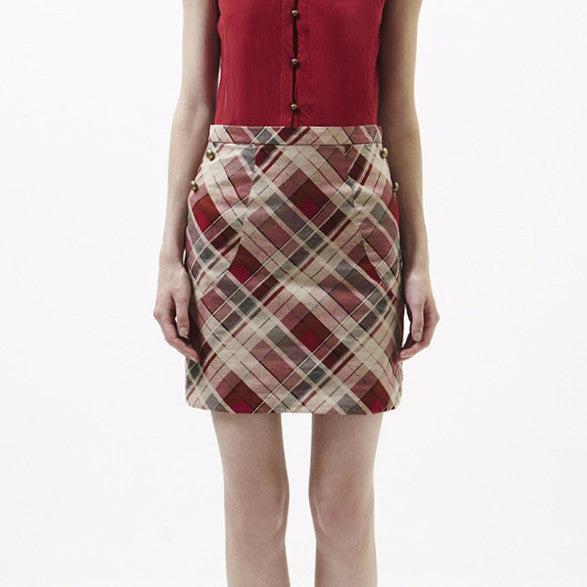 Reggie Skirt In Beige With Checked Red