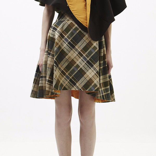Reversible Drew Skirt In Checked Green