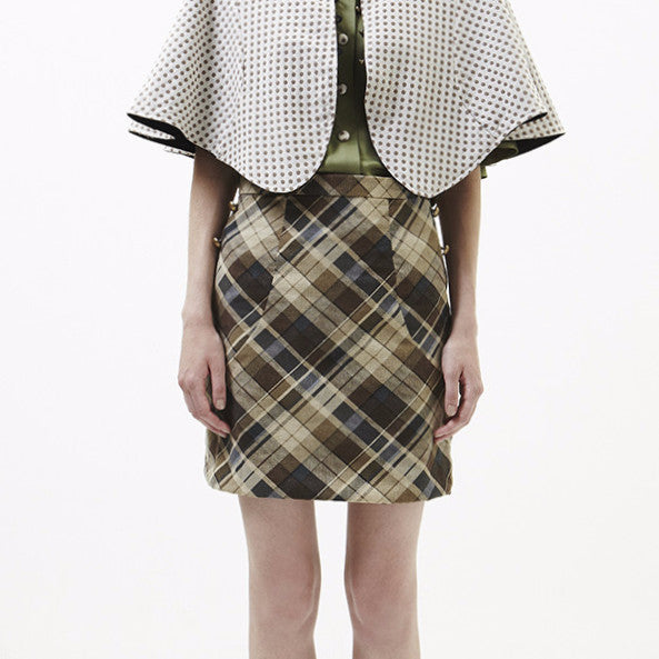 Reggie Skirt In Dark Brown With Checked Brown