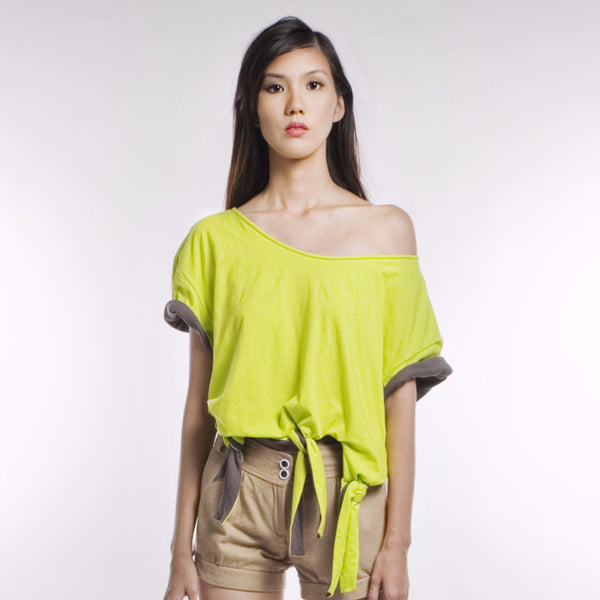 Wanda Top In Lime/Grey