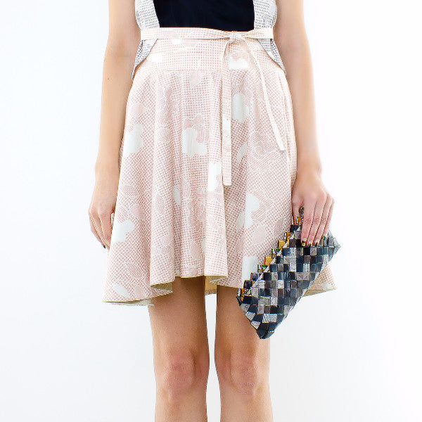 Gingko Skirt In Cream With Inner Pink Floral