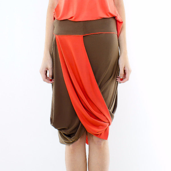 Styrax Skirt In Brown With Orange