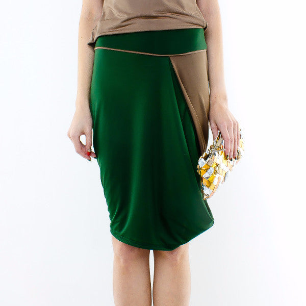 Styrax Skirt In Green With Brown